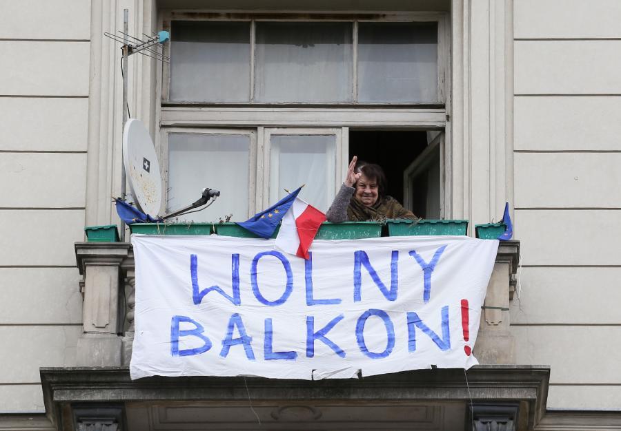 Balkon na trasie marszu