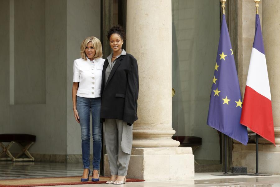 Pierwsza Dama Francji Brigitte Macron i Rihanna