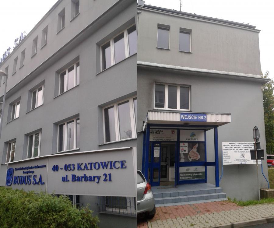 Biurowiec Budus przy ul. Barbary w Katowicach; boczne wejście do siedziby firmy