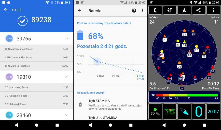 Sony Xperia XA2 - AnTuTu Benchmark, czas pracy na baterii, GPS