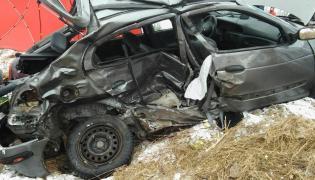 Tyle zostało z Renault Megane po tragicznym wypadku koło Nidzicy