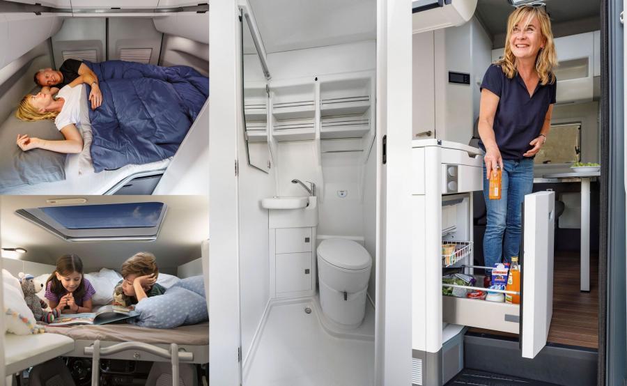 Volkswagen Grand California - oprócz kuchni i łazienki (o wymiarach 840 x 800 mm), w standardzie montowane jest oświetlenie zewnętrzne nad przesuwanymi drzwiami. Z przodu, nad kabiną kierowcy powstała sypialnia dla dzieci. Dzięki dużym rozmiarom udało się wygospodarować miejsce na komfortowe pomieszczenie z prysznicem i toaletą