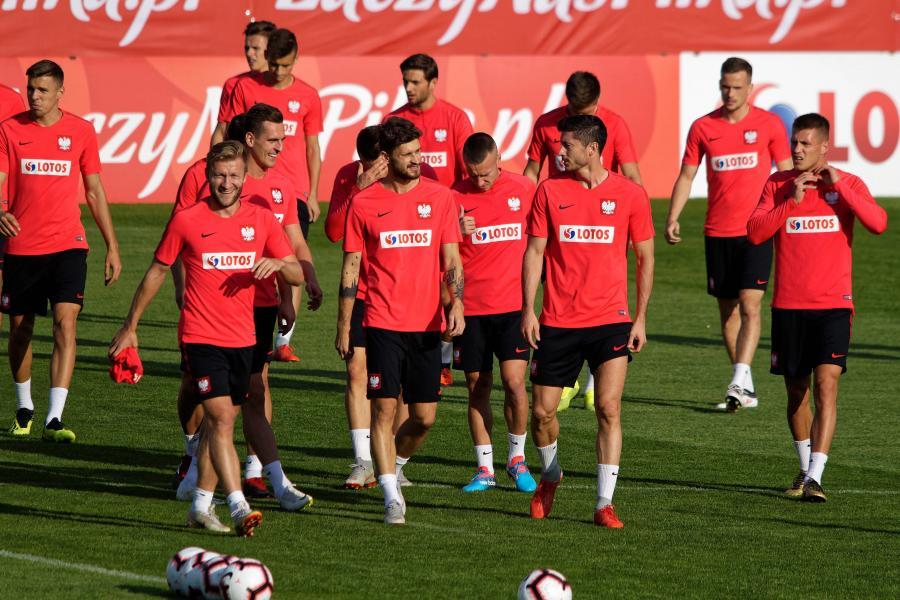 Piłkarze reprezentacji Polski podczas treningu we Wrocławiu