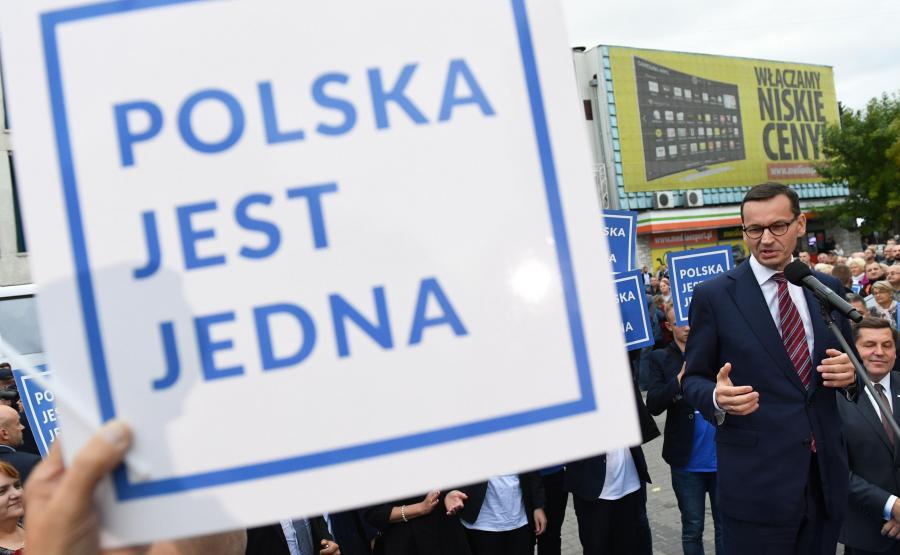 Premier Mateusz Morawiecki podczas spotkania wyborczego w Lubartowie
