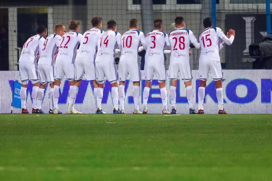 Radość zawodników Górnika Zabrze ze zdobytej bramki, podczas meczu piłkarskiej Ekstraklasy z Wisłą Płock