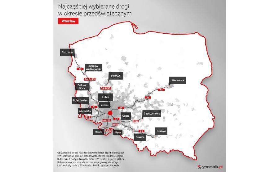 Ruch przedświąteczny z Wrocławia