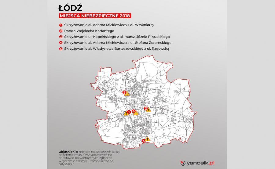 5 najbardziej niebezpiecznych miejsc w Łodzi