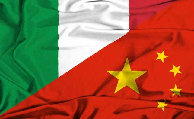Flagi Włoch i Chin