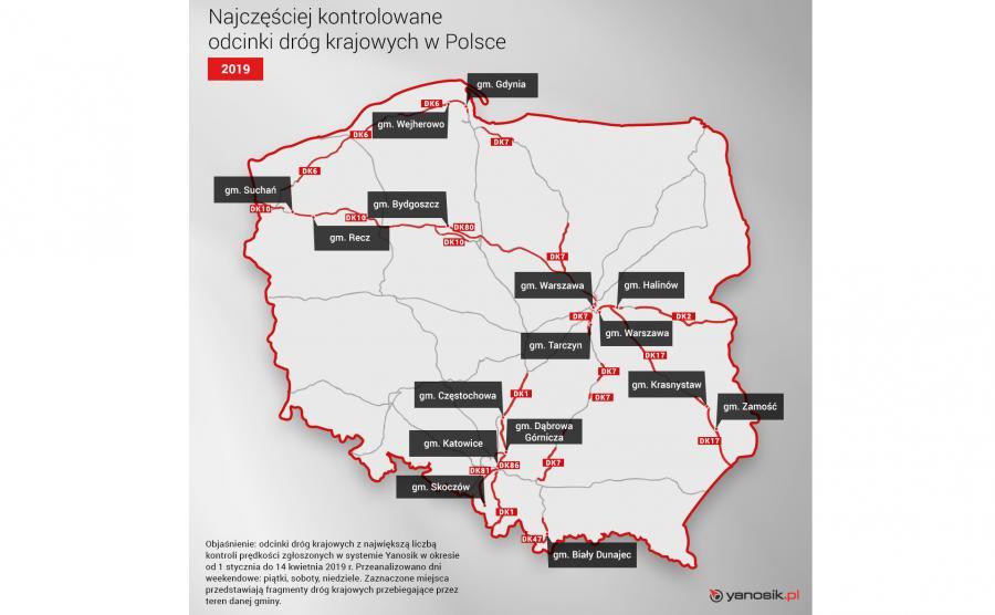 Najczęściej kontrolowane odcinki dróg w Polsce