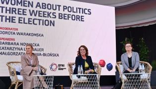 Wicemarszałek Sejmu Małgorzata Kidawa-Błońska (C) oraz liderka Inicjatywy Polska Barbara Nowacka (L) i przewodnicząca Nowoczesnej Katarzyna Lubnauer