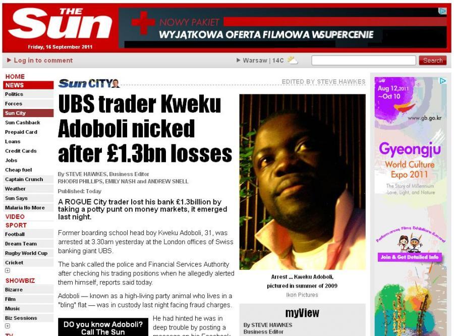 """Zdjęcie Kweku Adoboli z 2009 roku, zamieszczone przez brytyjski """"The Sun"""""""