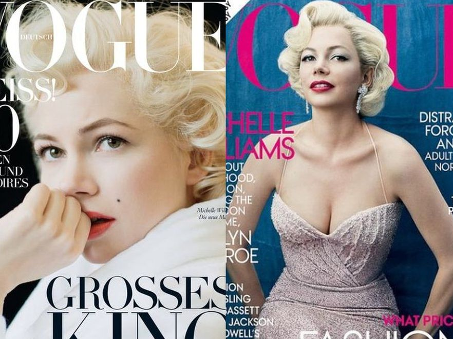 "Michelle Williams jako Marilyn Monroe na okładkach ""Vogue"". Źródło: Vogue"