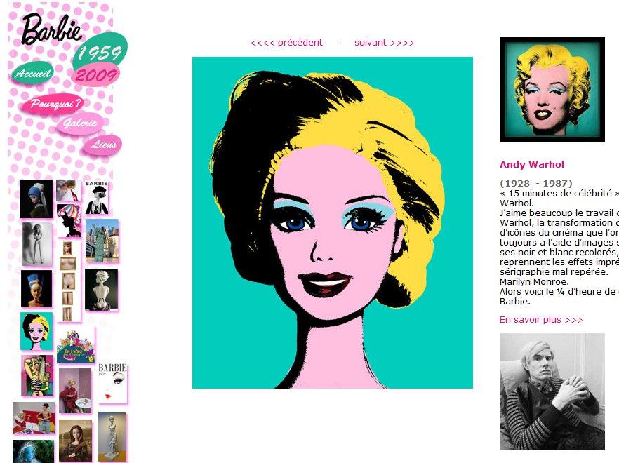 Barbie jako Marilyn Monroe według Andy'ego Warhola – dzieło Jocelyne Grivaud