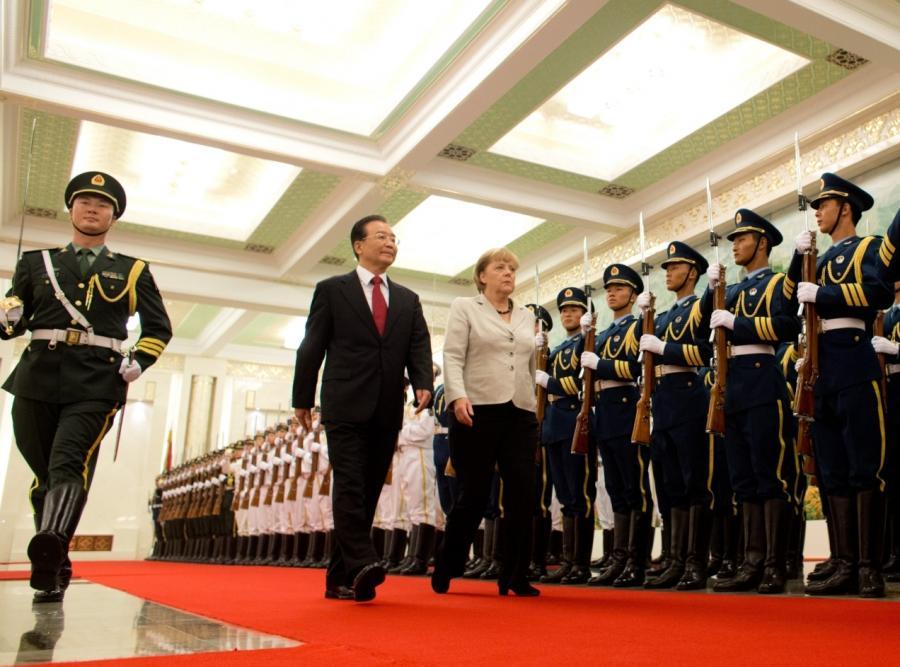 Kanclerz Niemiec Angela Merkel i premier Chin Wen Jiabao