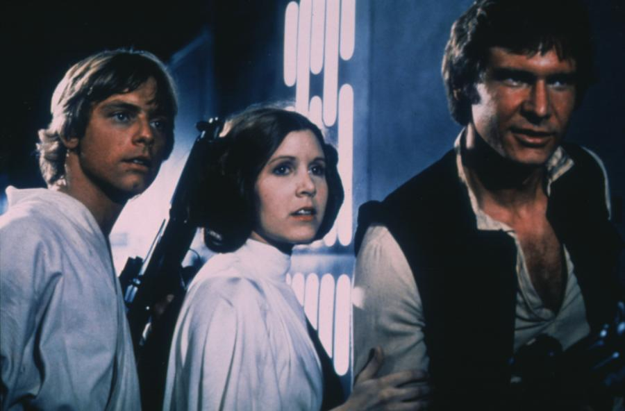 Mark Hamill, Carrie Fisher i Harrison Ford w \