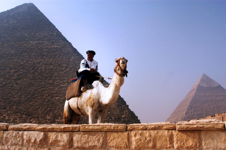Policjant na wielbłądzie pilnuje piramid