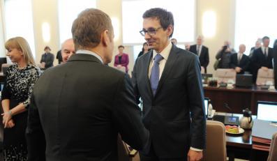 Posiedzenie rządu. Donald Tusk i Mikołaj Budzanowski