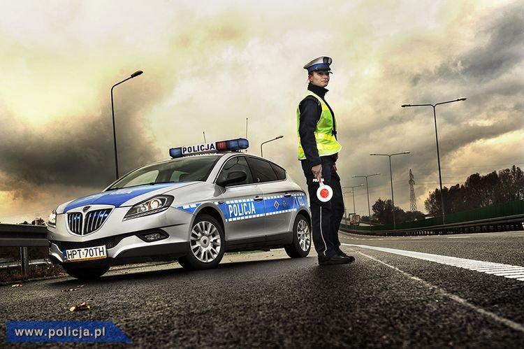 Policjant i radiowóz przy drodze