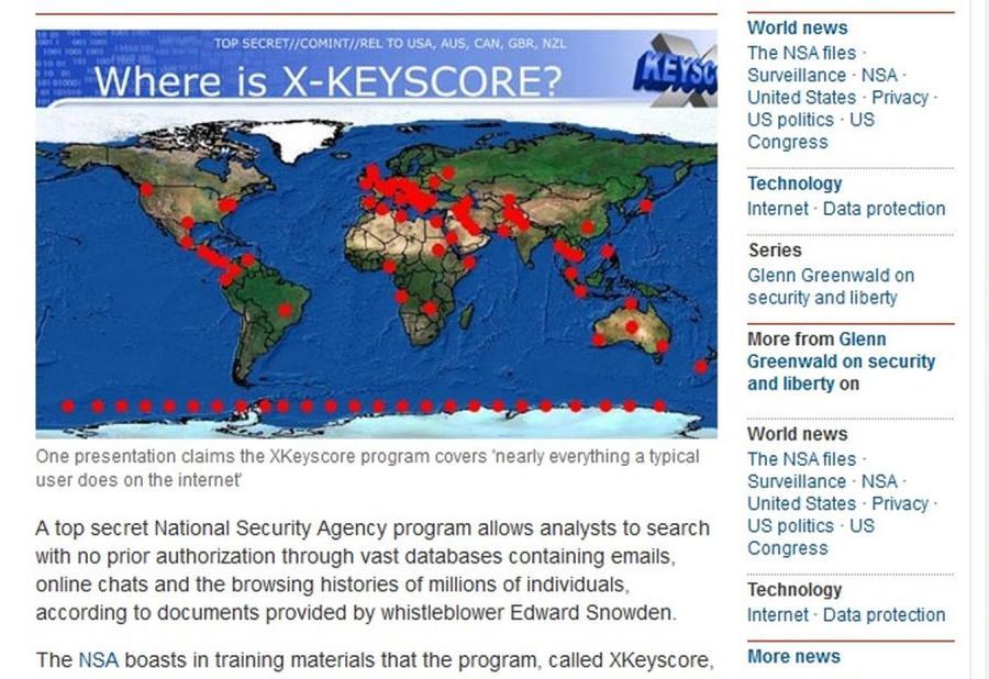 Miejsca na świecie, w których umieszczono elementy programu XKeyscore