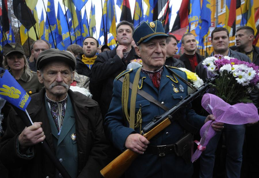 Demonstracja ukraińskich nacjonalistów z partii \