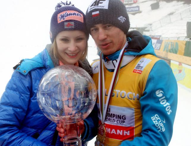 Kamil Stoch razem z żoną cieszył się ze zdobycia Kryształowej Kuli