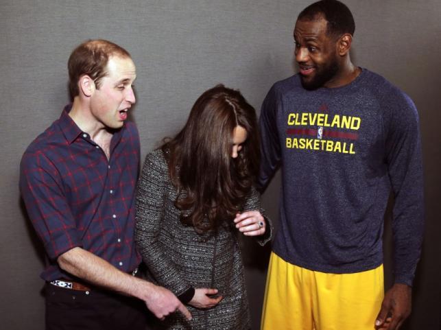 Księżna Catherine i książę William oraz LeBron James