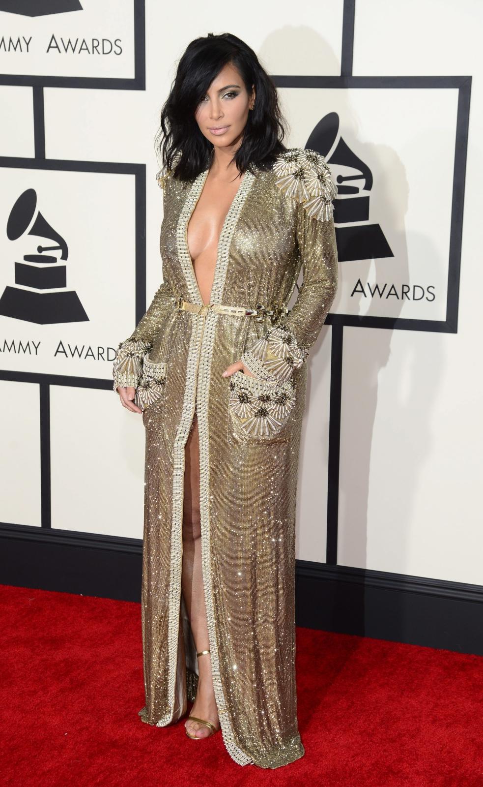 Najbardziej rozebrane gwiazdy na gali Grammy 2015: Kim Kardashian