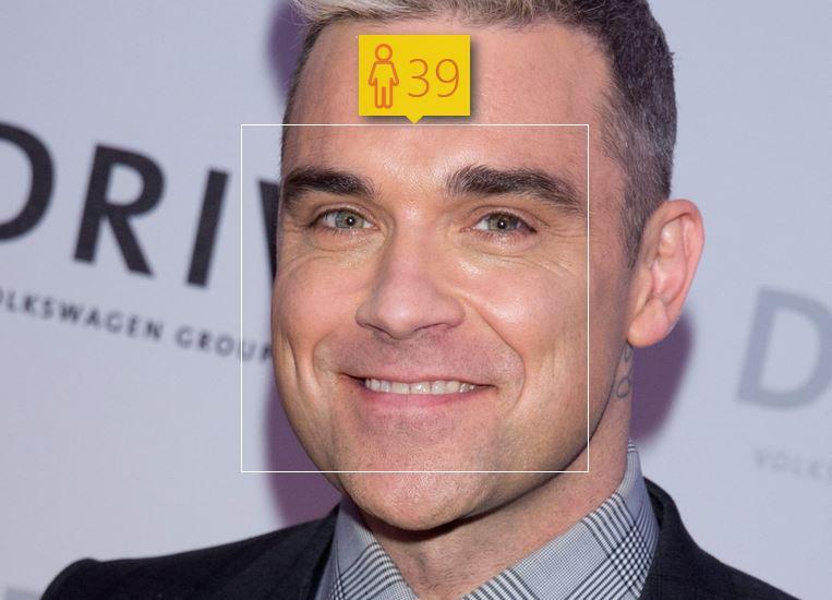 Robbie Williams i jego wiek według How-Old.net