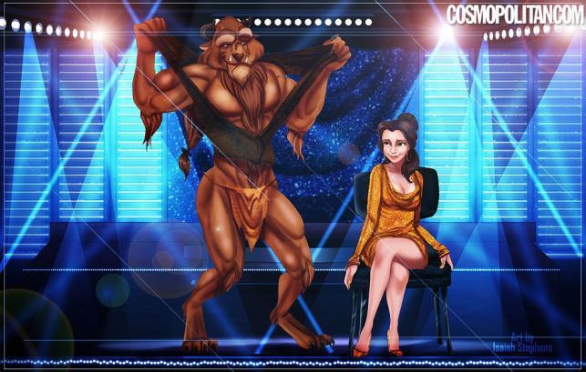 Piękna Bella i Bestia jako filmowy Tarzan (grany w filmie przez Kevina Nasha)