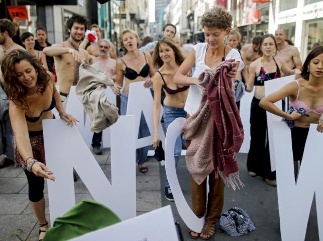 Protest aktywistów Living Wage Now w Brukseli