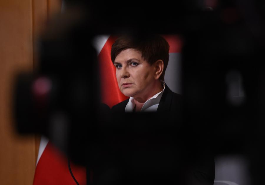 Premier Beata Szydło po spotkaniu z szefami służb mundurowych w Rządowym Centrum Bezpieczeństwa