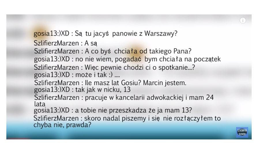 24-letni Marcin pisze do 13-letnej Gosi (kadr z filmu z profilu \