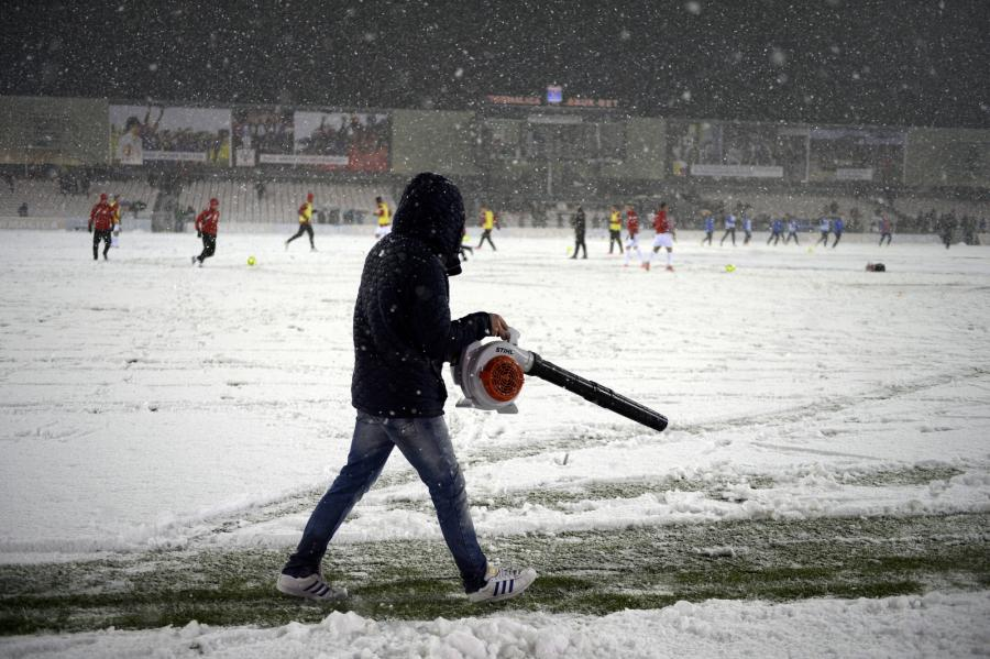 Zaśnieżony stadion Termaliki Bruk-Bet w Niecieczy