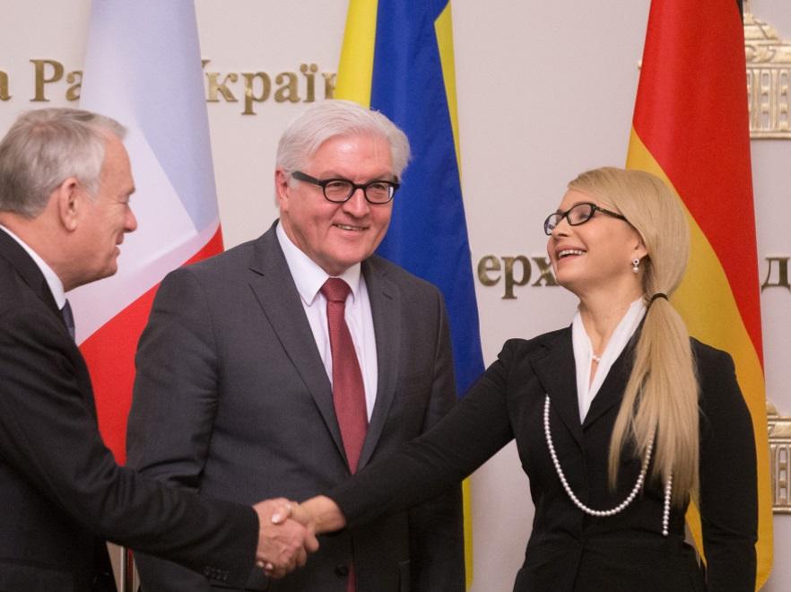 Jean-Marc Ayrault, Frank-Walter Steinmeier i Julia Tymoszenko