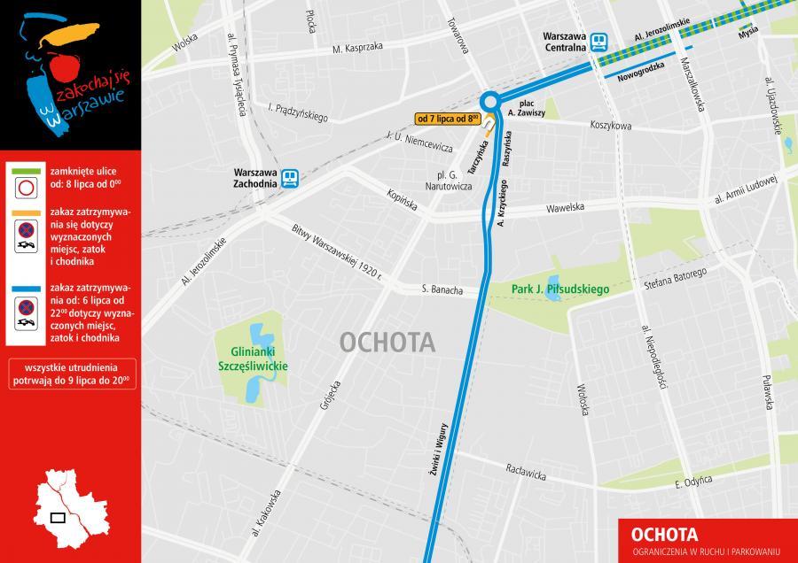 Plan ograniczeń w czasie szczytu NATO - Warszawa Ochota
