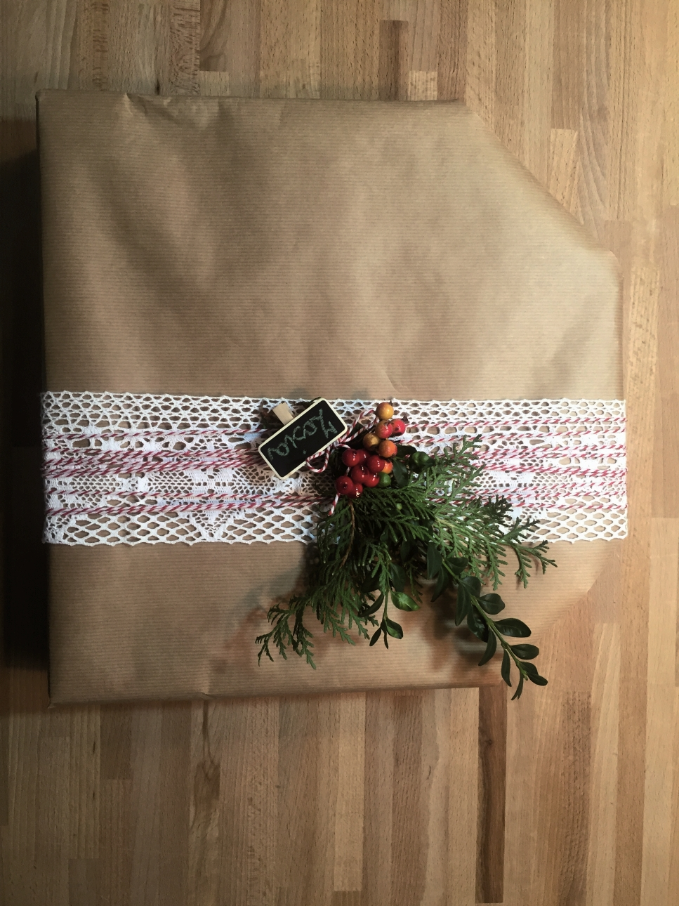 """zapakowany prezent / ilustracja z książki """"Dorota was urządzi na Święta"""""""