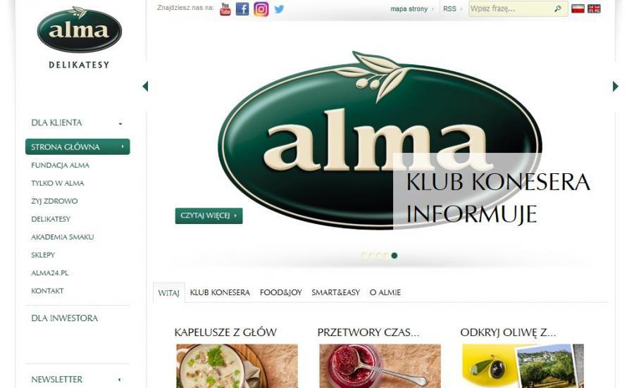 Strona internetowa sklepów Alma