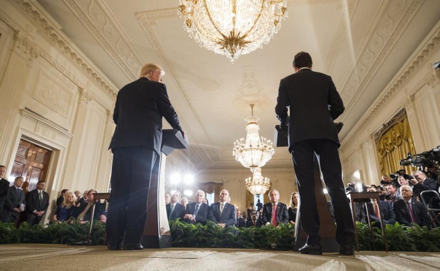 Amerykański prezydent Donald Trump i kanadyjski premier Justin Trudeau na wspólnej konferencji prasowej
