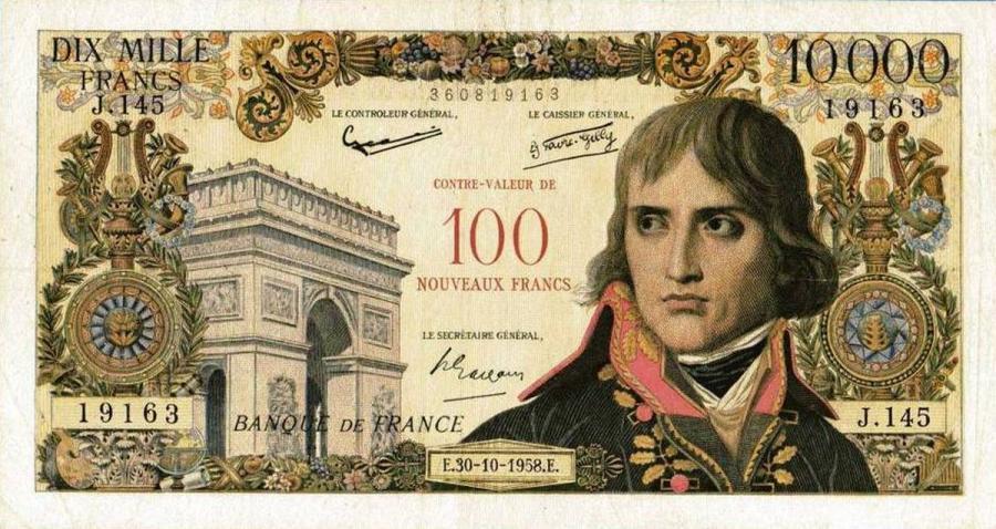 Banknot 100 franków podrobiony przez Czesława Bojarskiego