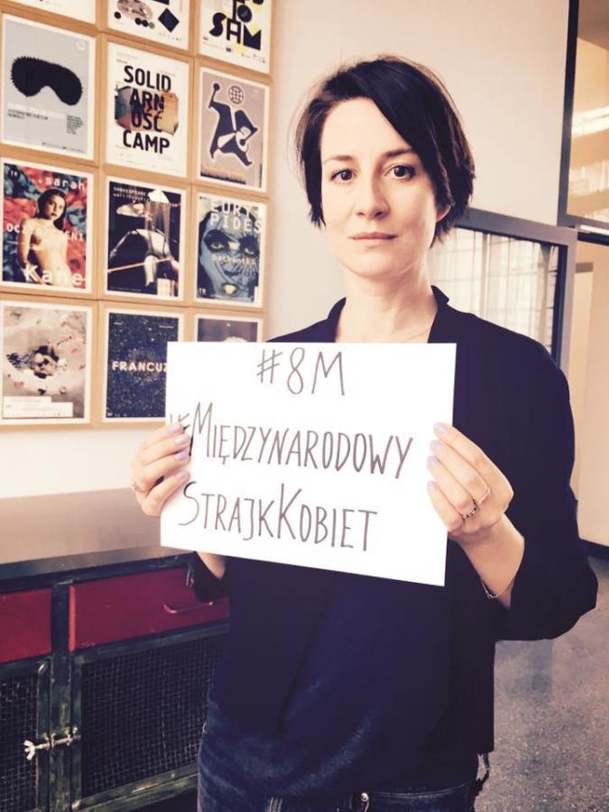 Maja Ostaszewska popiera Strajk Kobiet 8 marca / zdjęcie z profiul Strajk Kobiet
